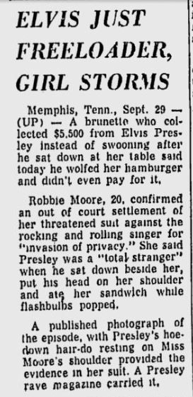 """Newspaper clipping from the """"Miami Sunday News"""" - Sunday, September 30, 1956. (Thnx to Mister Moon who uploaded this article to FECC Forum.) The incident took place at the Gridiron Restaurant in Memphis,TN on Tuesday June 19, 1956. Elvis was accompanied by his then girlfriend Barbara Hearn and photographer Robert Williams who took several pictures of Elvis and  20-year-old Memphis telephone company operator Robbie Moore which later appeared in the magazine """"ELVIS PRESLEY SPEAKS!""""."""