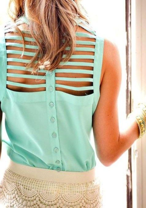 Mint lattice back top & lace shorts