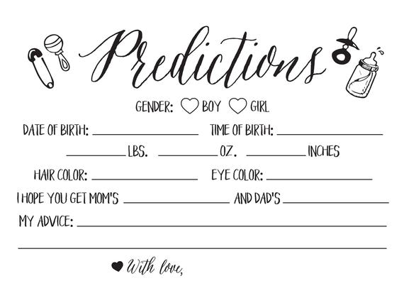 Baby Girl Prediction Cards Mad Libs Printable Baby Prediction Etsy In 2021 Baby Prediction Cards Baby Prediction Modern Baby Shower