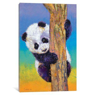 East Urban Home Peekaboo Painting Print On Canvas Size 26 H X 18 W X 0 75 D Panda Art Panda Painting Animal Paintings