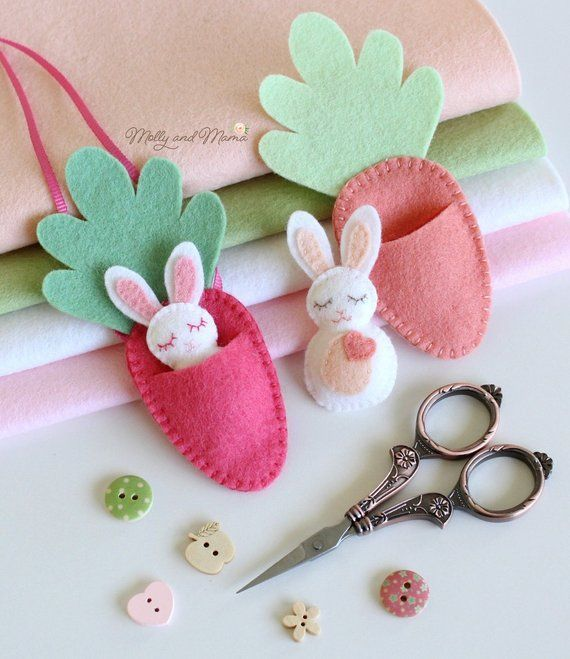 "Photo of FELT BUNNY PDF pattern – ""Bitty Bunnies"" Easter pattern; Mini rabbit with felt carrot sleeping bag,"