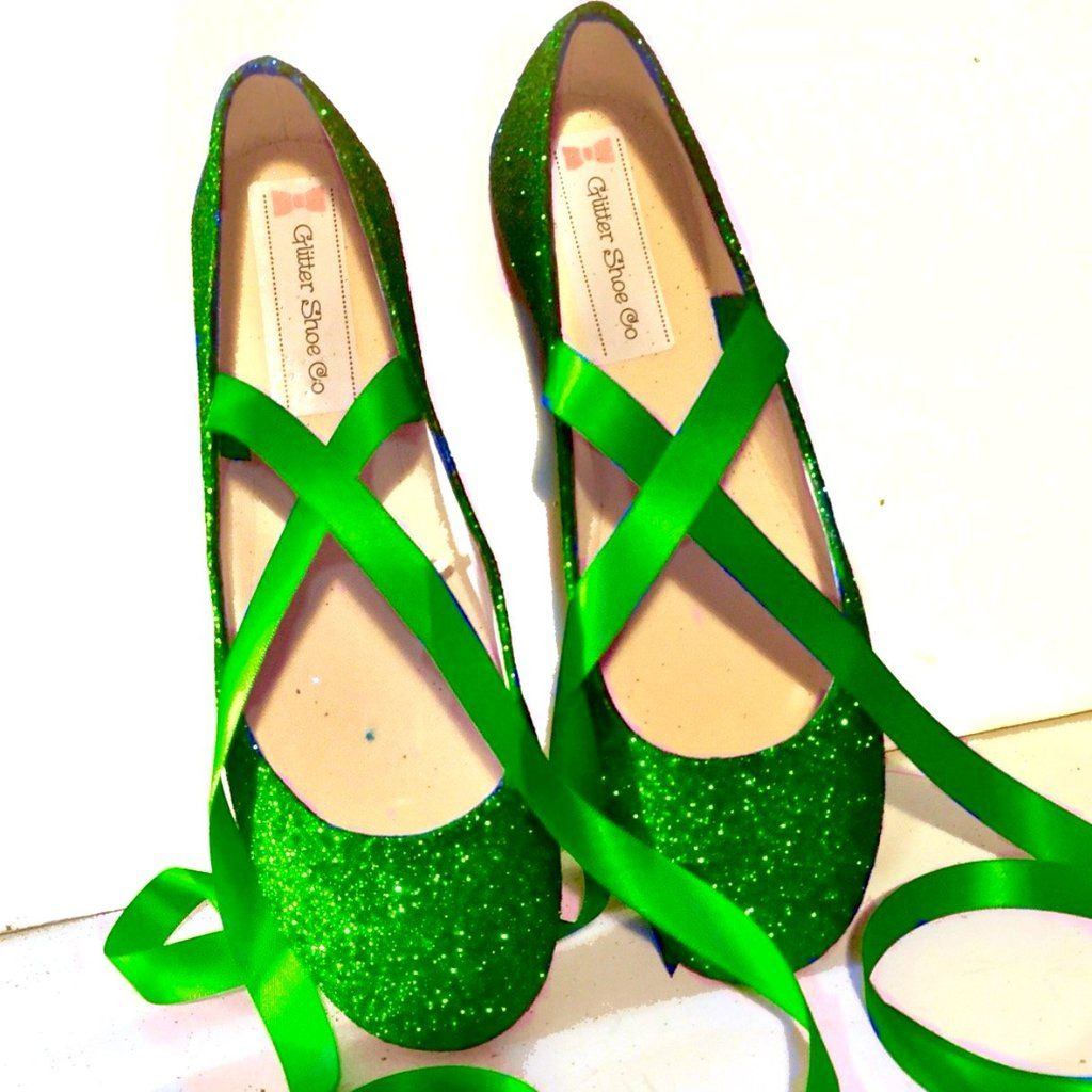 Sparkly Poison Ivy Green Glitter Ballet Flats Shoes Wedding Bride Womens Satin Tie Up Bow
