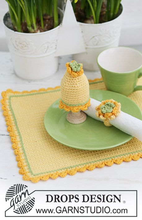 Crochet DROPS place mat, egg warmer and serviette ring for your ...