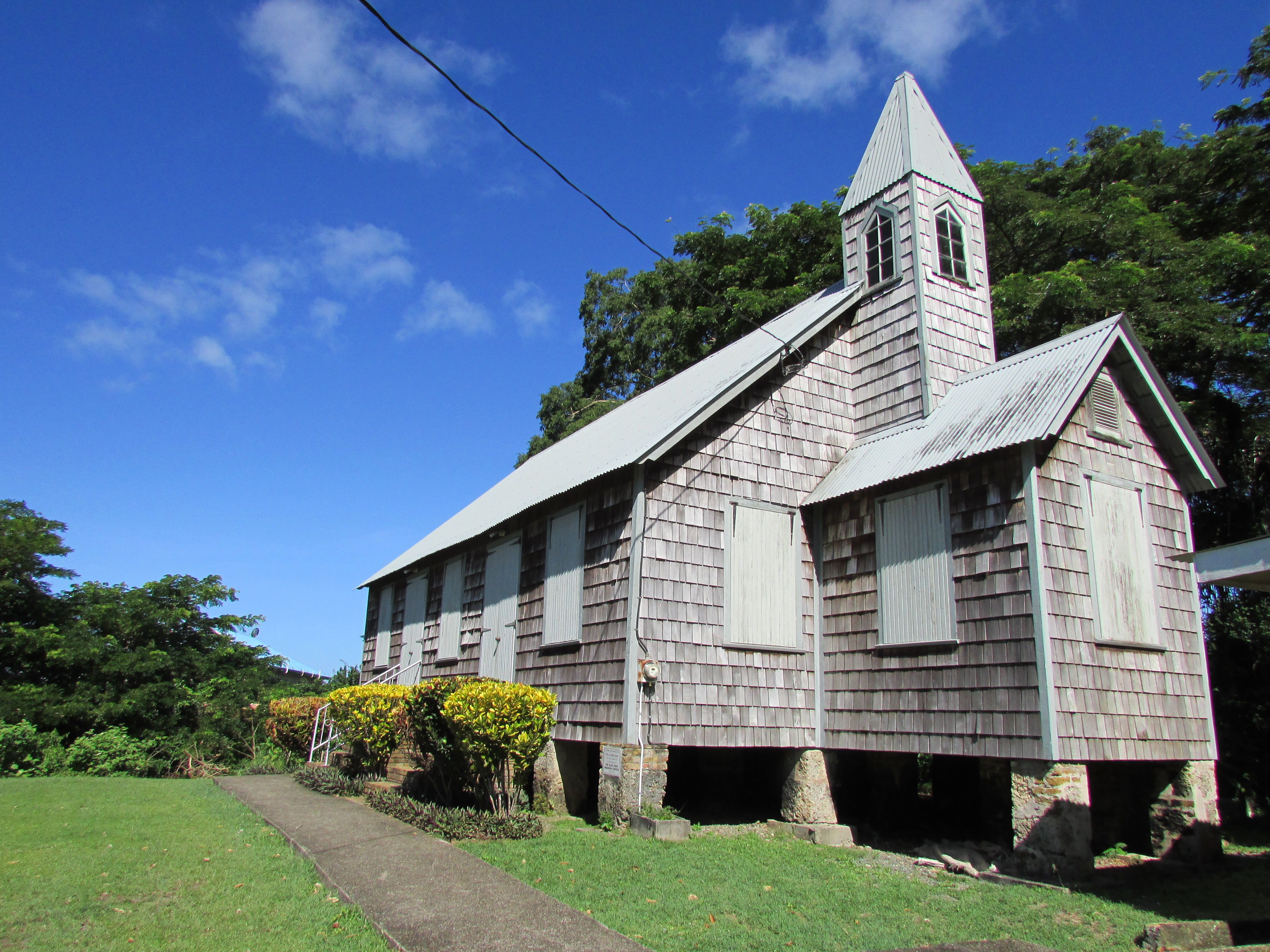 Moravian Church, Blackrock, Tobago Indian homes, Tobago
