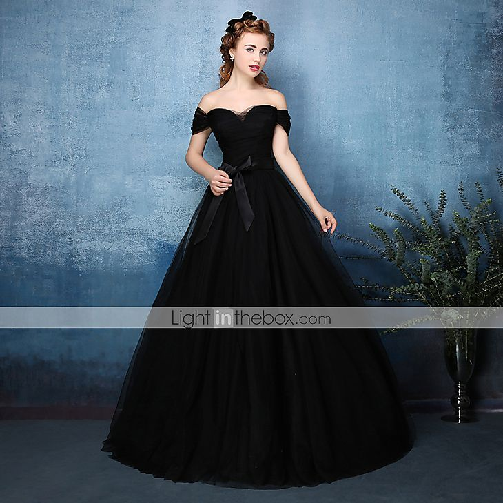 [$149.99] A-Line Off Shoulder Floor Length Tulle Prom