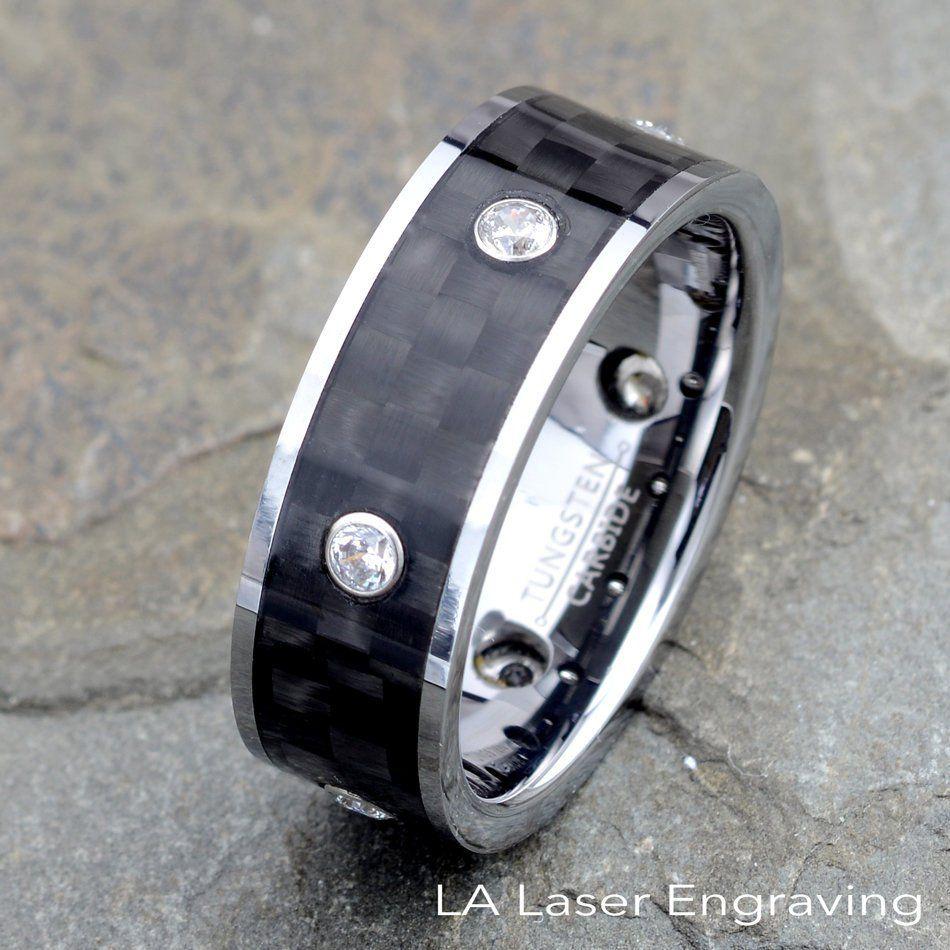 Tungsten Ring Carbon Fiber Ring With 6 Cz Bezel Mens Tungsten