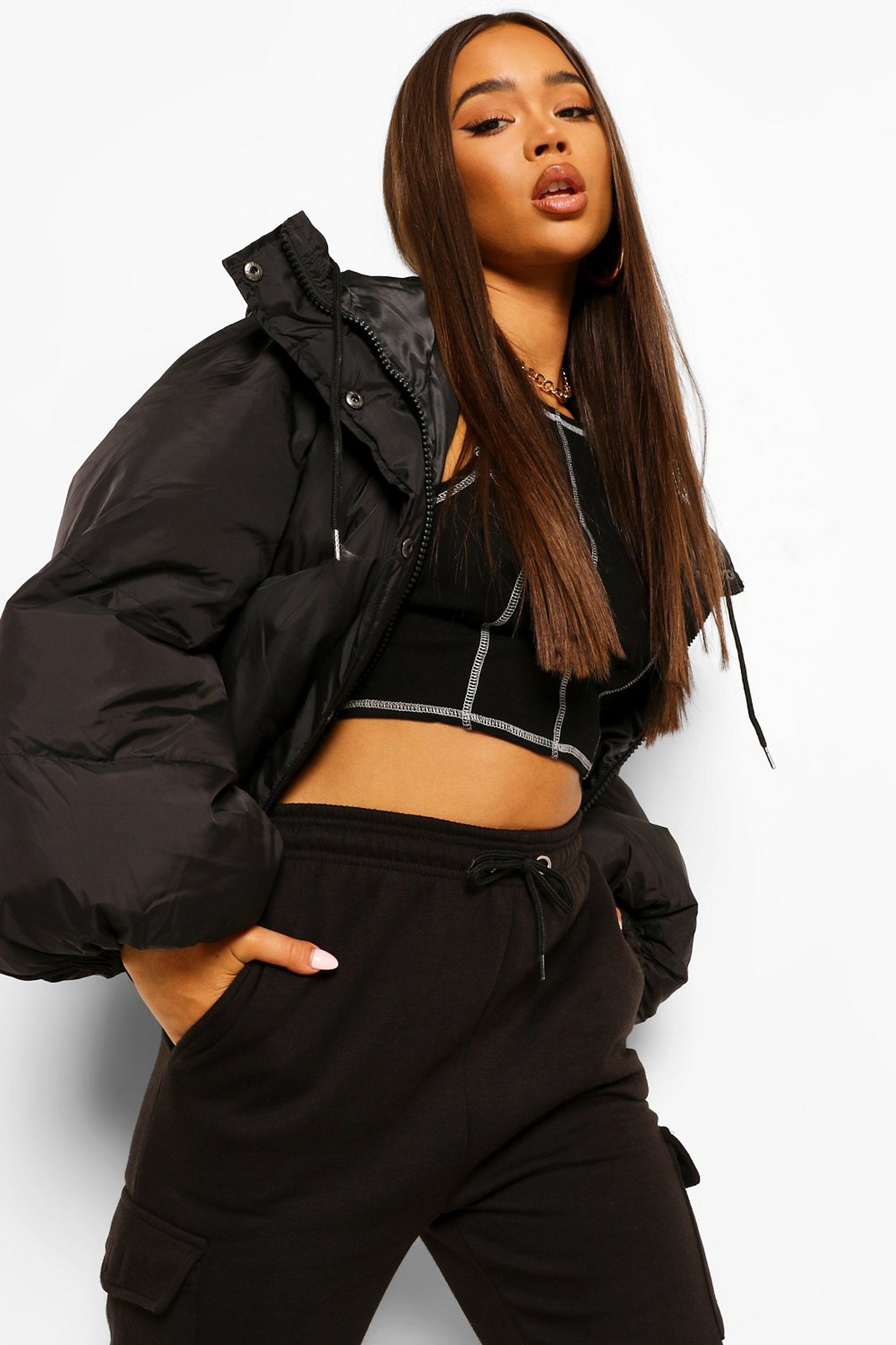 Oversized Sleeve Hooded Puffer Jacket Boohoo Oversize Sleeves Jackets Coats Jackets Women [ 3272 x 2181 Pixel ]