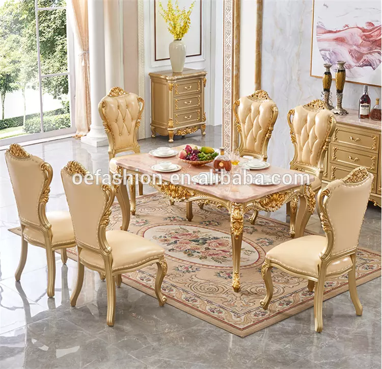 Oe Fashion High End Classic And Italy Furniture Dining Set Wholesale Dining Table Marble Gold Gold Leaf Dining Table View Dining Table Marble Gold Oe Fashion Furniture Furniture Styles Dining Table