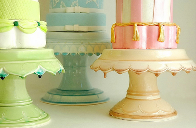 Sorbet coloured cake stands: Hand made cake stands from Clara French