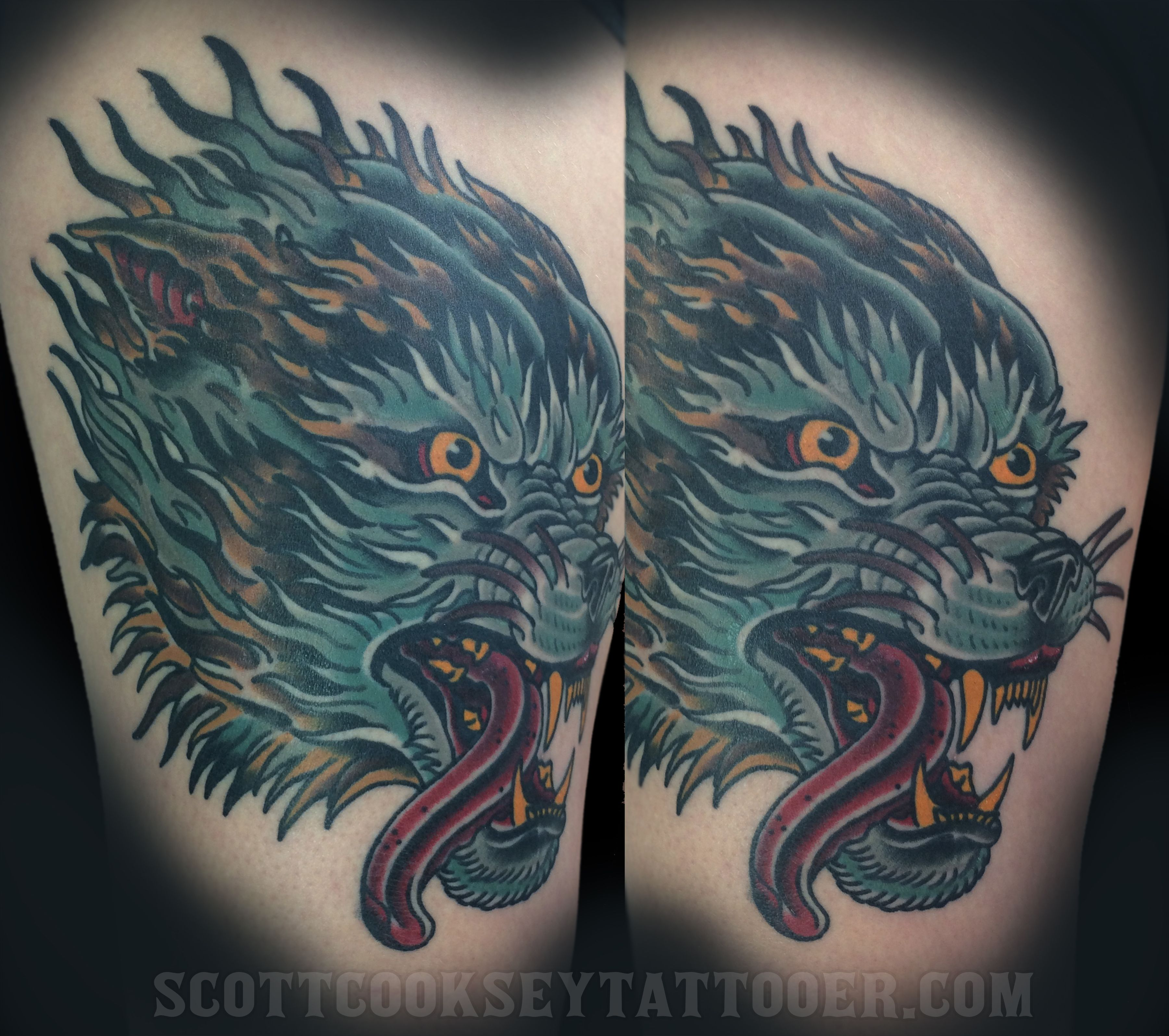 American traditional wolf head tattoo by scott cooksey of