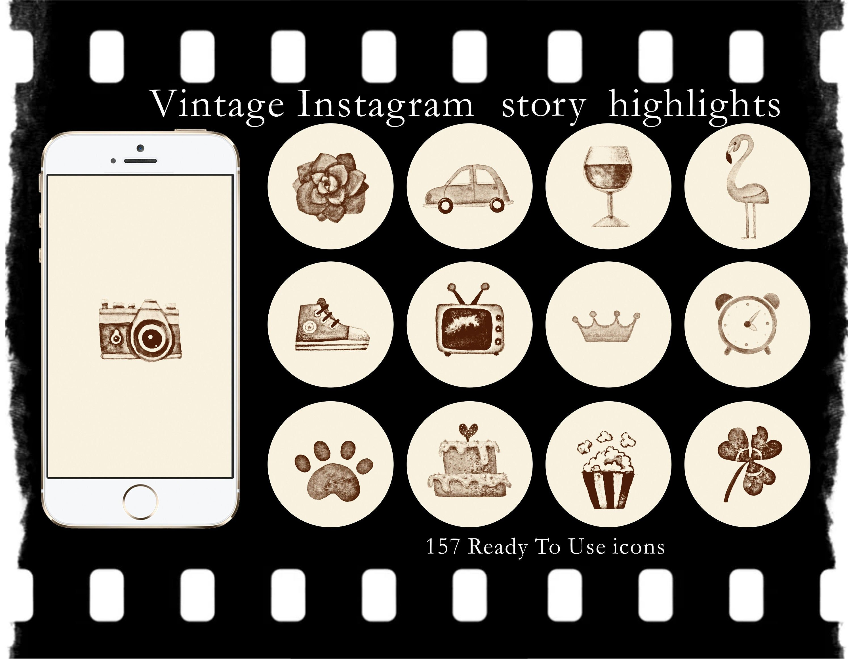 Retro Black And White Instagram Story Highlights Sepia Beige Etsy In 2020 Black And White Instagram Vintage Instagram Instagram Highlight Icons