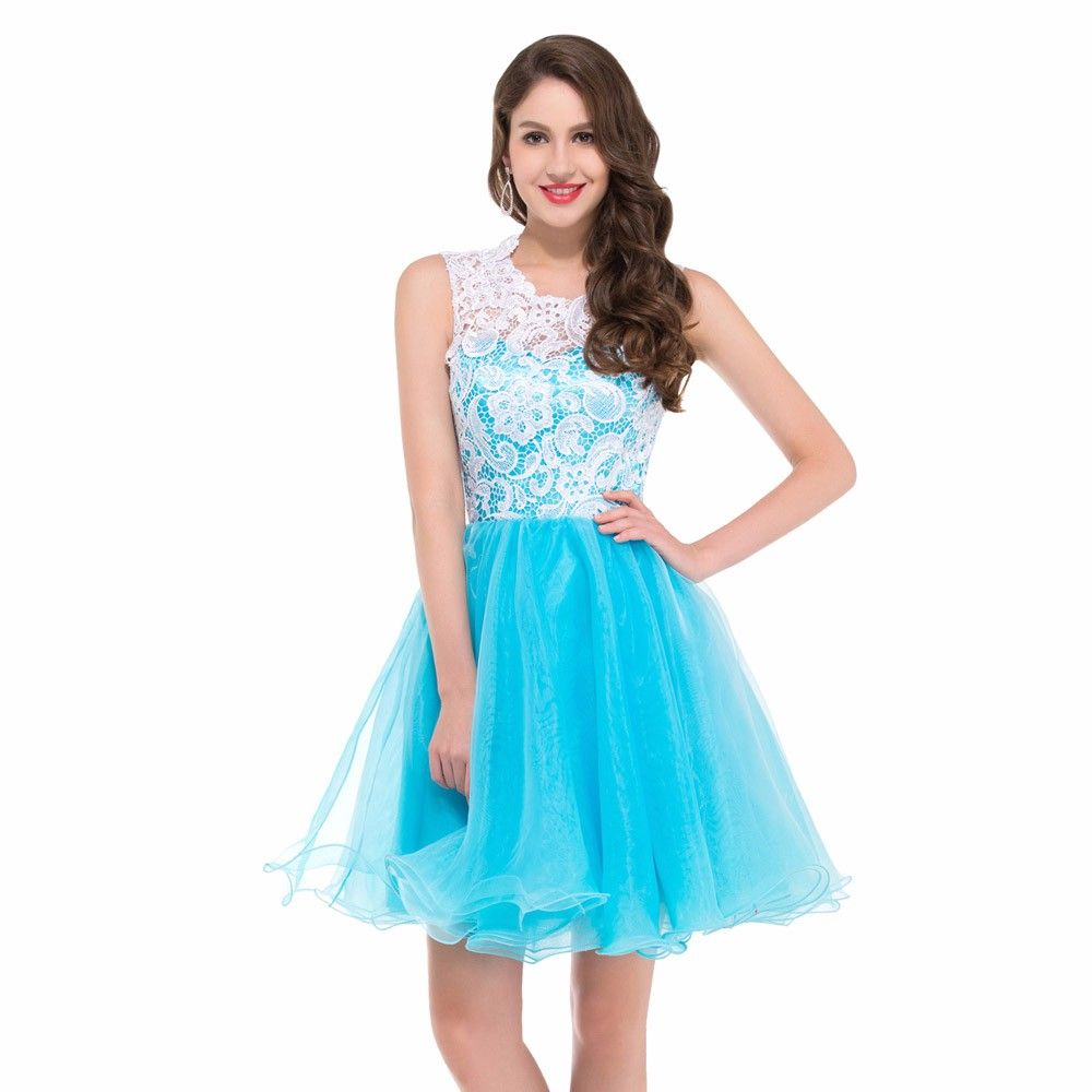 Hot Sale Mini Short Lace Blue Tulle Homecoming Dresses Zipper Back ...