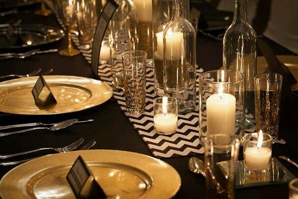 black and gold wedding table settings - Google Search | Black & Gold ...