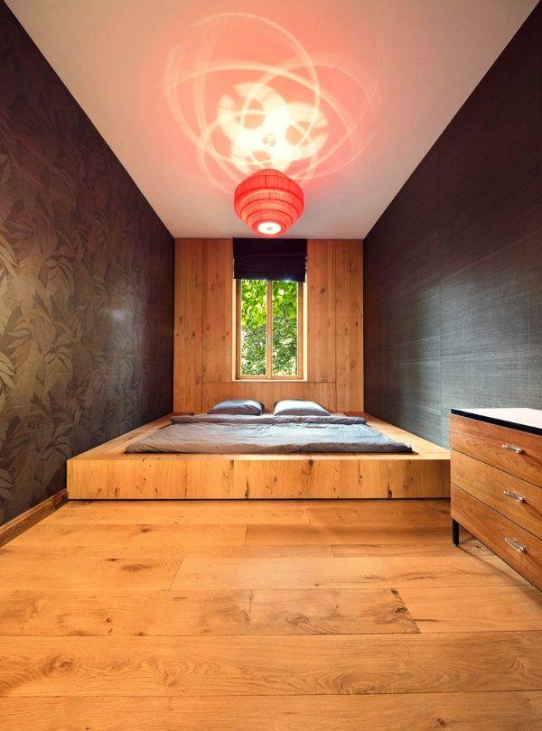 Schlafzimmer Ideen Bett Bettenarte Eingebaut Fußboden Holz Podest