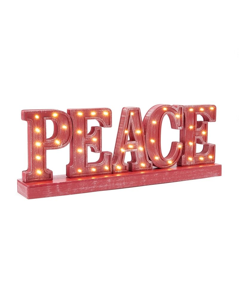 Peace Decorative LED Sign - Expect the very best throughout the season with a thoughtful decorative like this 'Peace' sign which has light-emitting diode (LED) nodules which are safe and give a warm glow to any holiday home. #peace #holiday #love #lightemittingdiode