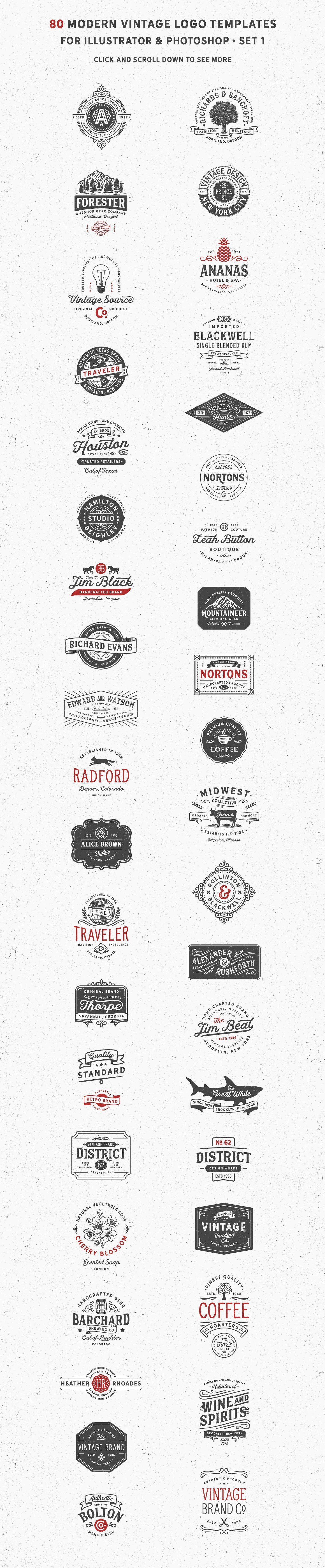 80 Modern Vintage Logos vol 2 by DISTRICT 62 studio on ...