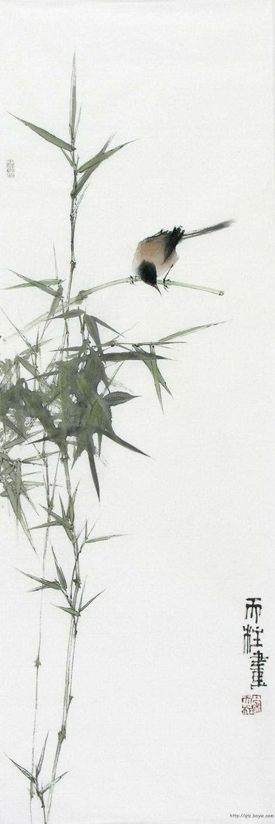 Qin tianzhu bambou en 2019 arte de acuarela acuarela japon s et pinturas de tinta - Dessin arbre chinois ...