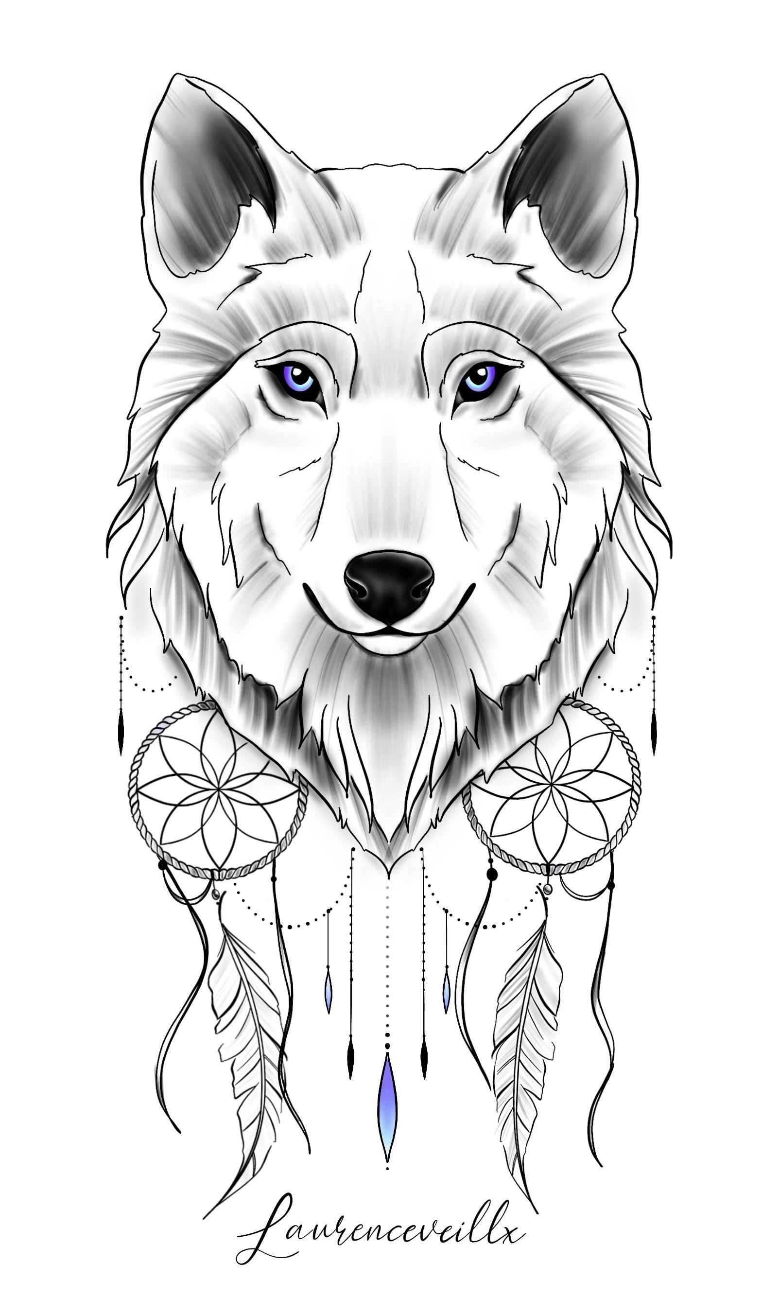 Wolf Dreamcatcher Blue Tattoo Design Laurenceveillx In 2020 Blue Tattoo Wolf Dreamcatcher Wolf Dreamcatcher Tattoo