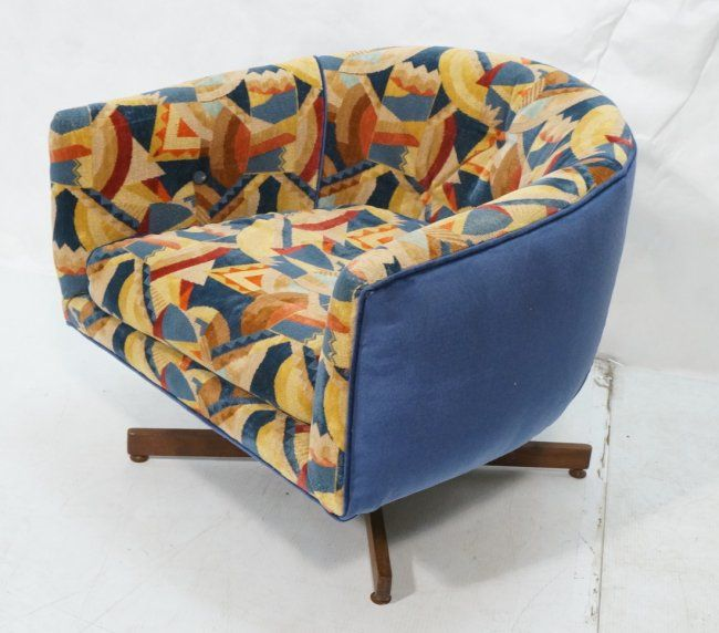 Sold for $650 in Aug. 2014. Milo Baughman Barrel Back Lounge Chair. Swivels on four wood leg pedestal base. Great modernist Art Deco inspired fabric upholstery. -- Dimensions: H: 24 inches: W: 28 inches: D: 28 inches --- Condition