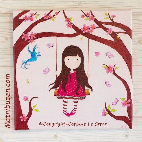 tableau enfant petite fille sur sa balanoire dans la fort entoure de papillons et