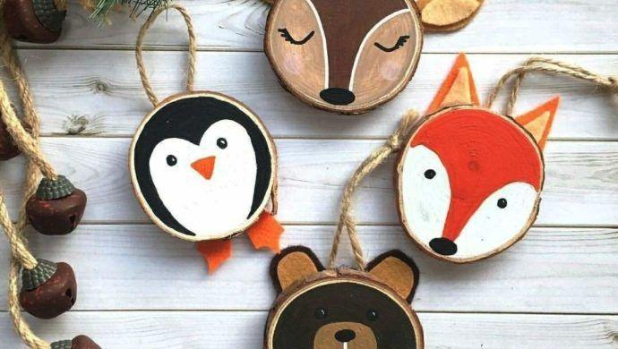 35 Ideen zum Basteln mit Holzscheiben: kreativ und naturnah zu Weihnachten dekorieren