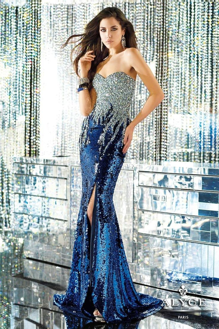 Style 6147 sparkly blue and silver evening dress (Alyce)