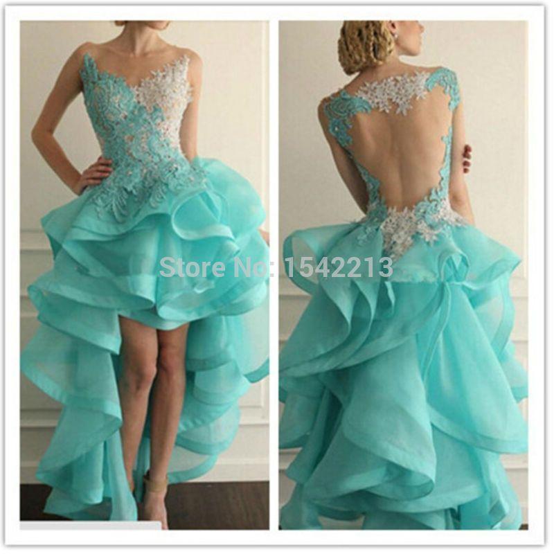 High Low Style Light Blue White Lace Short Dress Prom Dresses Rude Style Sexy Vestido De Festa Longos 2015