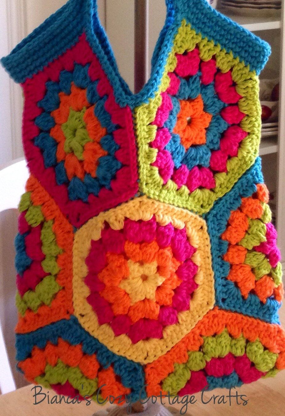 Tote bag market bag hexagon  crochet bag chrochet tote bag cotton bag reusable bag color: yellow-orange-hot pink-green-turquoise (30.00 USD) by BsCozyCottageCrafts