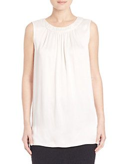 St. John - Liquid Crepe Gathered Sleeveless Top
