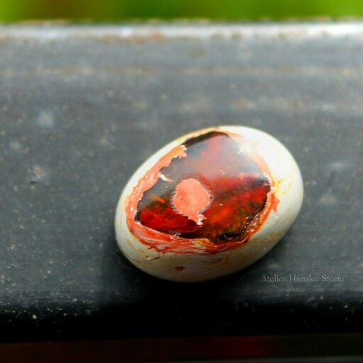 Mexican fire opal in matrix.  Atelier Hanako Stone