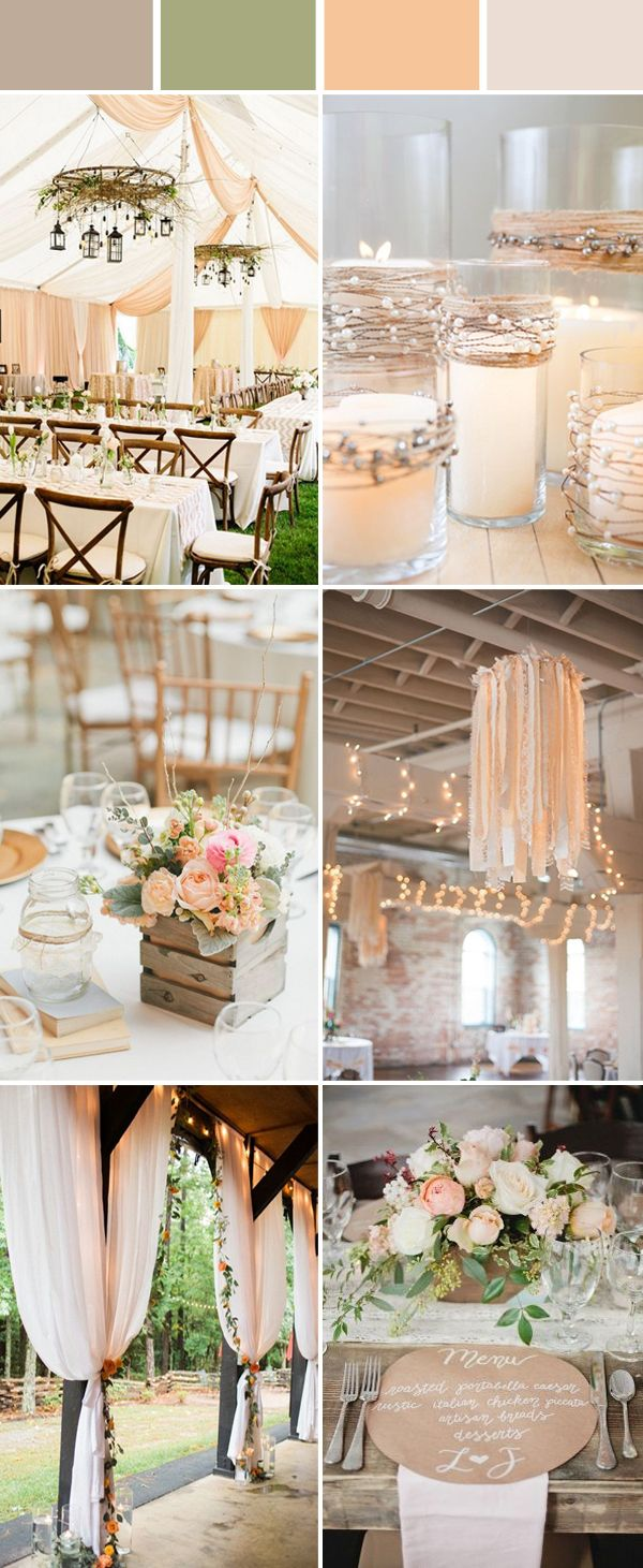 Top 10 Elegant And Chic Rustic Wedding Color Ideas Peach Wedding Colors Fall Barn Wedding Wedding Centerpieces