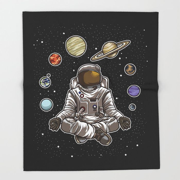 Yoga Astronaut Meditates In Space And Feels The Galaxy Bed Throw Blanket by Anziehend - 51