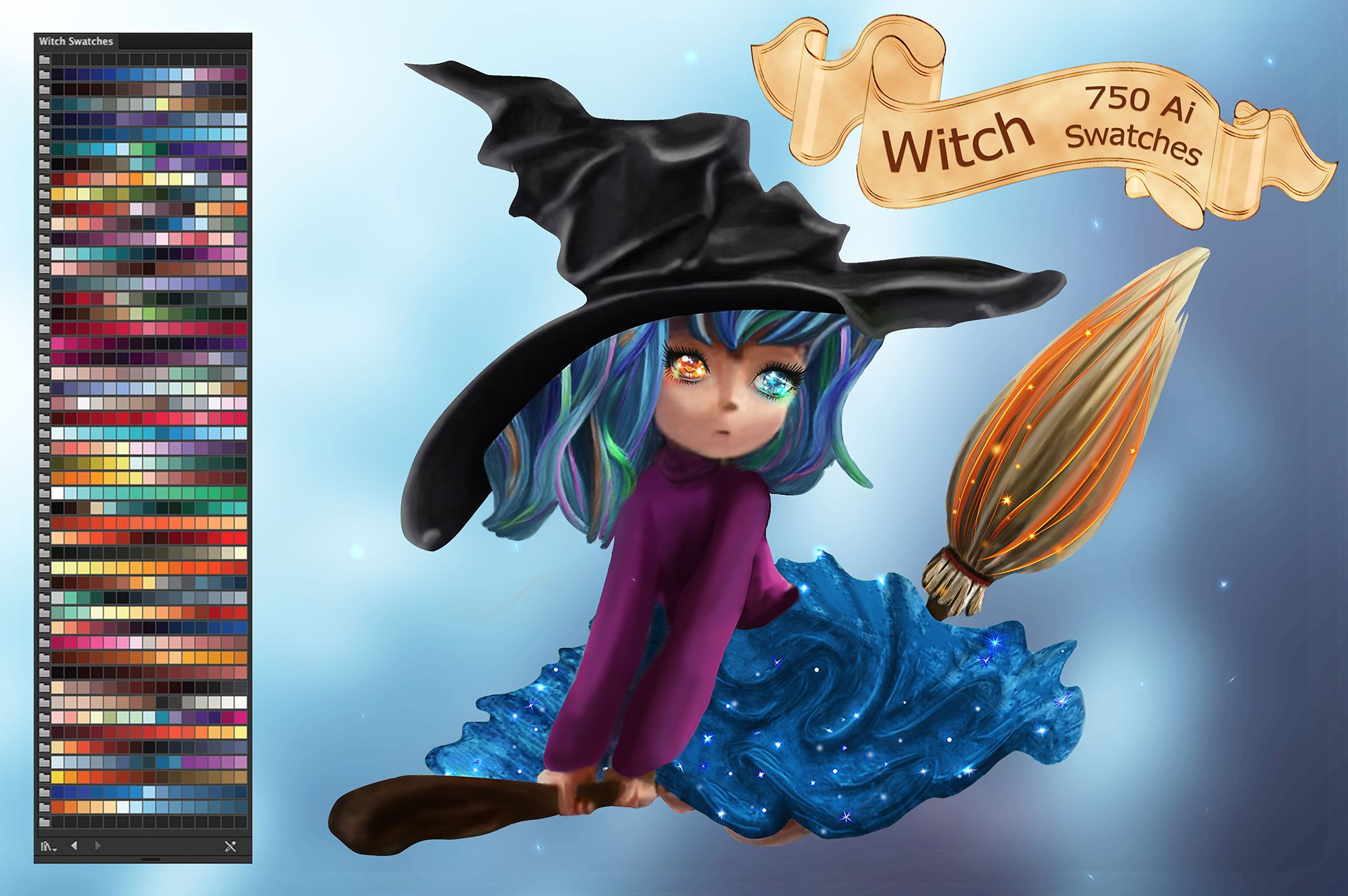 Witch Ai Swatches Graphic By Faerydesign Creative Fabrica Digital Painting Illustrator Cs6 Photoshop Watercolor