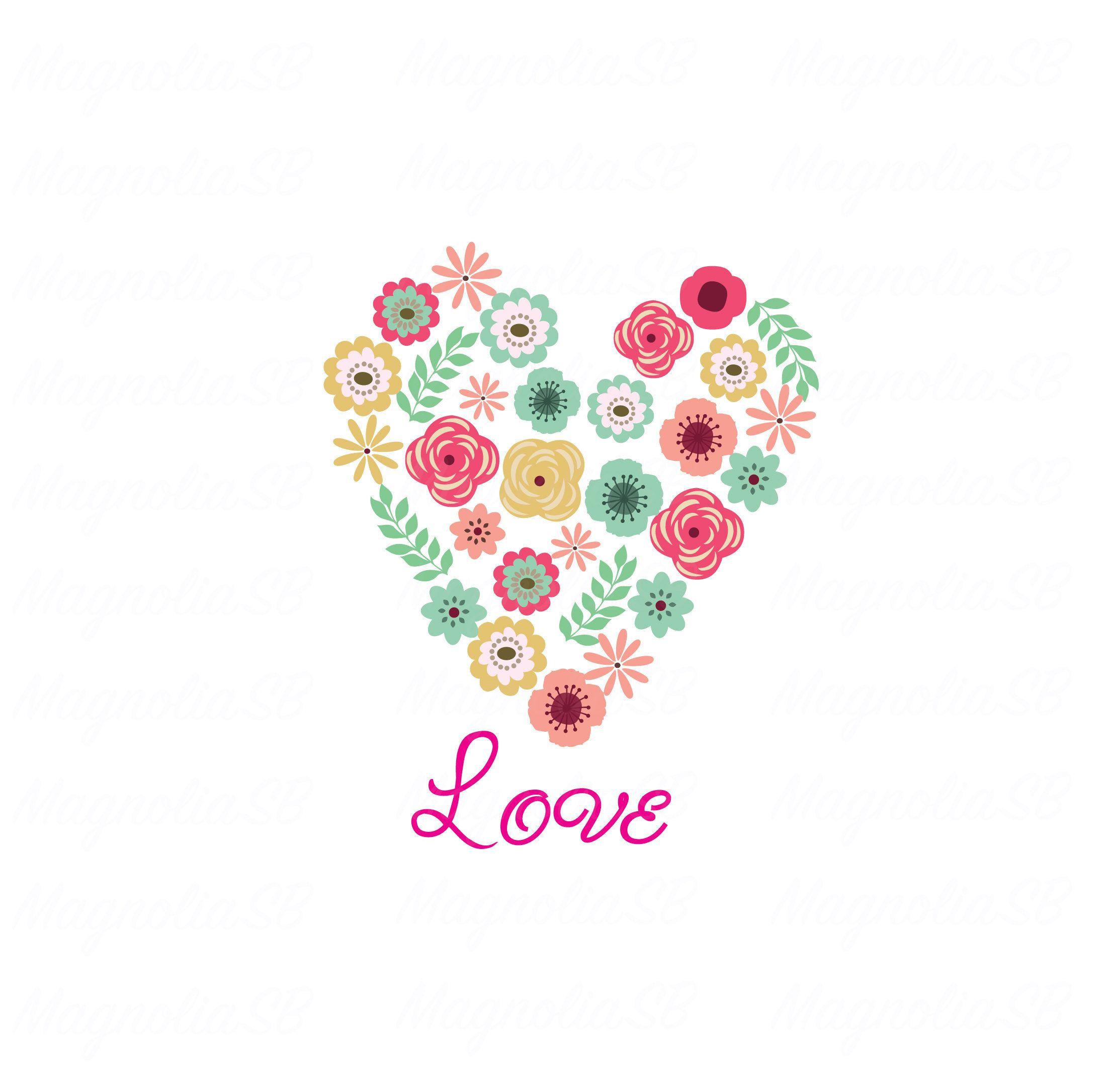 floral heart digital clip art floral heart printable card | etsy | digital  clip art, clip art, floral art  pinterest