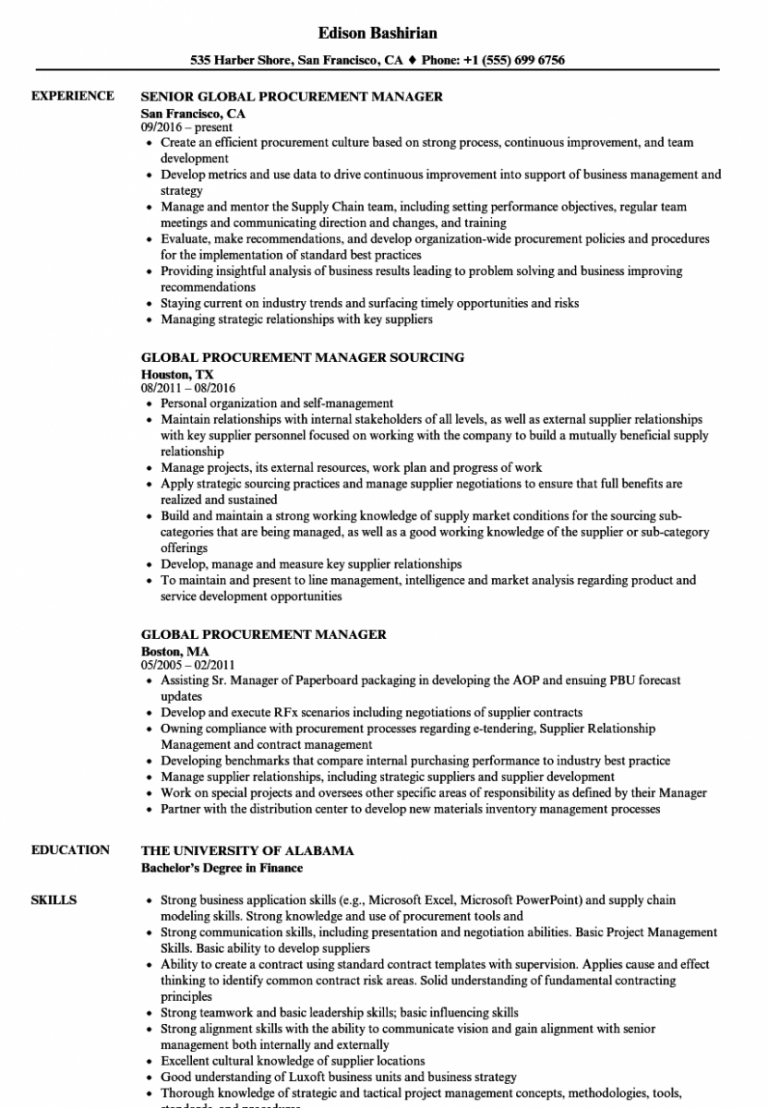 Procurement Manager Resume Sample Sales Resume Examples Project