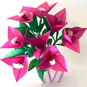 Origami bouganville in origami vase origami pinterest origami origami bouganville in origami vase paper flowers for sale paper flower art flower crafts mightylinksfo