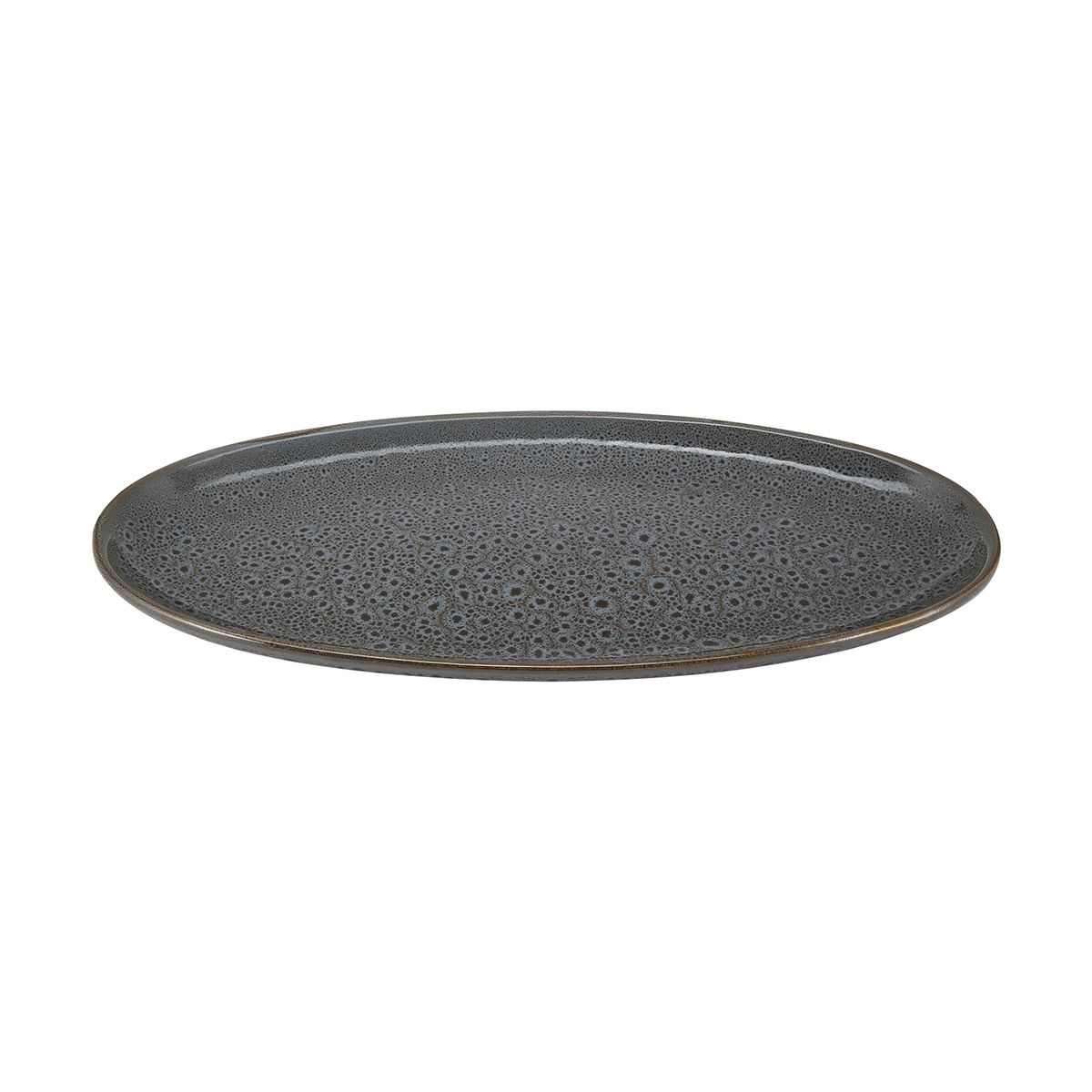Dark Grey Glazed Oval Platter Dark Grey Canapes Grey