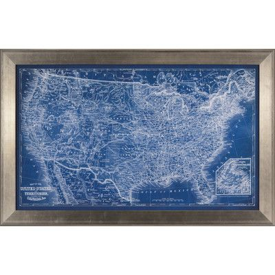 Ashton Wall Décor LLC Trends US Map Blueprint Framed Graphic Art ...