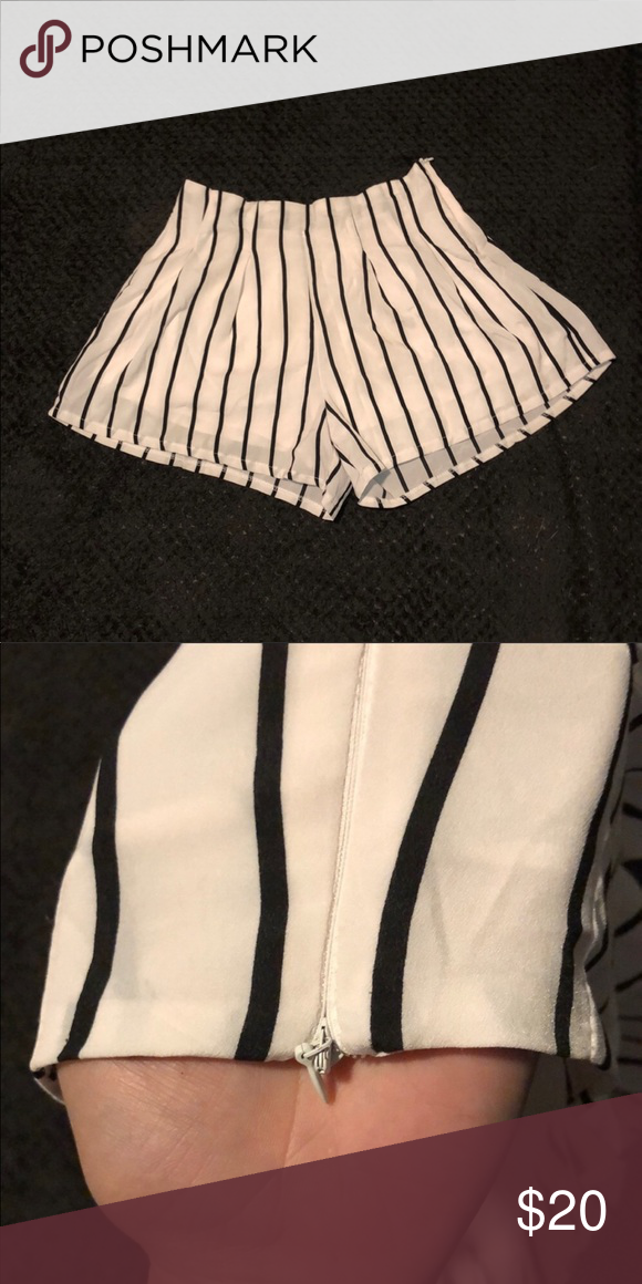 High Waist Flowy Stripped Chiffon Shorts Chiffon striped shorts. Flowy enough to pass as a skirt. Side zipper Perfect condition! Unfortunately they are too big for me Shorts