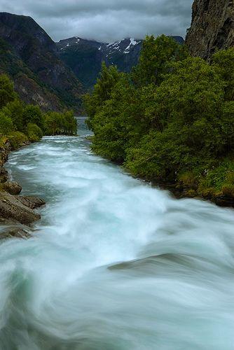 Rushing river, Aurland, western Norway