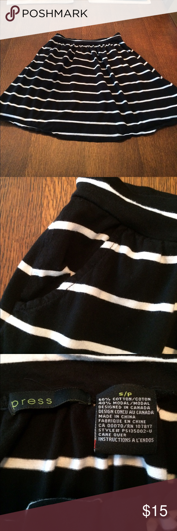 Black and white skirt Adorable black with white stripes skirt by press. Small. Press Skirts A-Line or Full