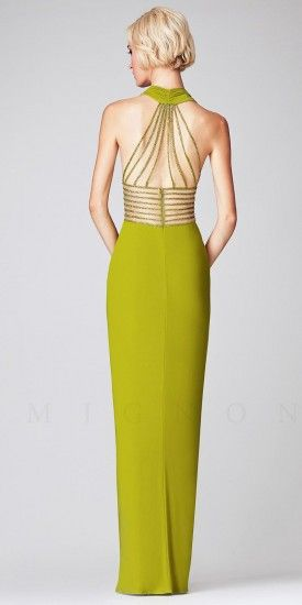 Ruched Halter with Beaded Illusion Waist Long Dresses by Mignon-image