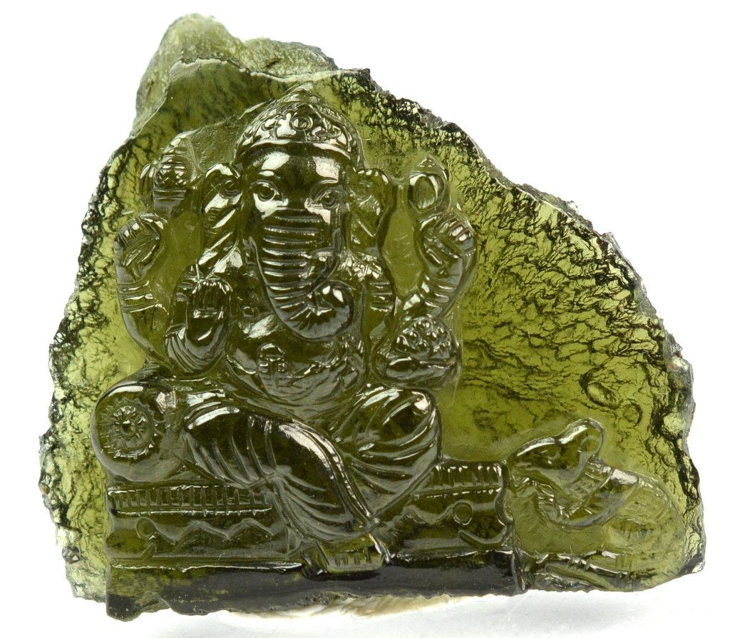 Moldavite ganesh gemstone carving cts mm