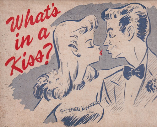 """""""What's in a Kiss?"""" ~ Cover illustration for a kiss tester, ca. 1940s."""
