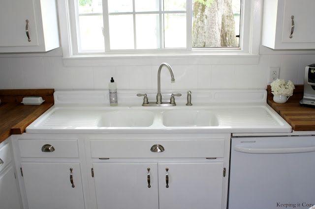 Butcher Block Countertop With Farmhouse Sink