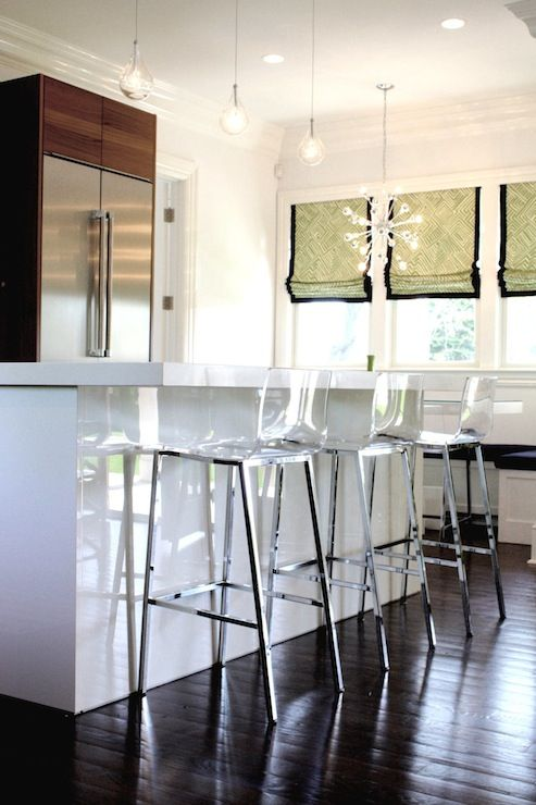 Sleek island bar with cb2 vapor barstools for the home for Hampton style kitchen stools