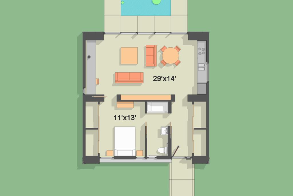 1 Bedroom Modern House S