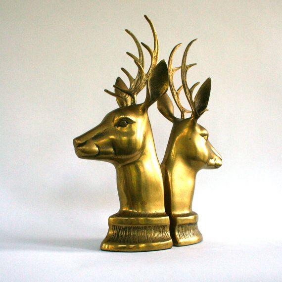 Vintage Brass Deer Bookends. Antlers. Mantle. Office. Library. Men Centric. Unisex. Hunting Season. Winter Woodland Animals. Vestiesteam.. $56.00, via Etsy.