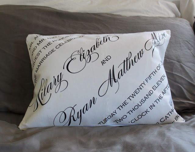 Gifts For A Second Wedding: 231 Blog: DIY CUSTOM PILLOW COVERS WITH INVITATION ART FOR