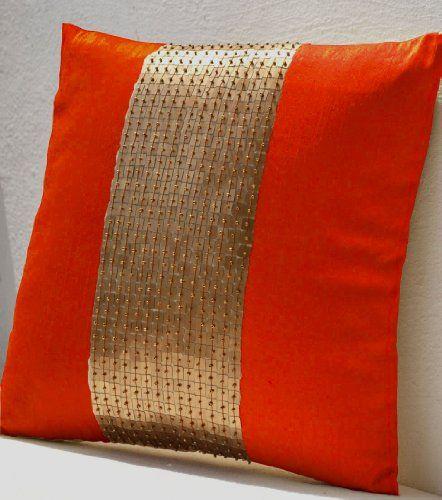 Kissen Orange Gold Farbe Block In Kunst Seide Mit Pailletten Perlen Details